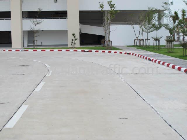 Traffic Paint สีขาวสลับสีแดงที่ฟุตบาท และสีตีเส้นถนน