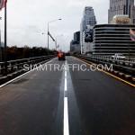ตีเส้นถนนโครงการปรับปรุงสะพานข้ามแยก ถนนพระรามที่ 4-สีม