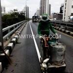 ตีเส้นด้วยสีเทอร์โมพลาสติกสะพานไทย-ญี่ปุ่น ถนนพระรามที่ 4