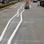 เส้นจราจรบนถนน Unilever Building ถนนพระราม 9