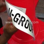กรวยจราจรติดสติ๊กเกอร์สกรีนข้อความ U-GROUP