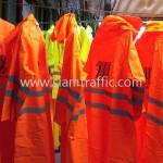 เสื้อกันฝนสะท้อนแสงสีส้ม สกรีนโลโก้ THE MALL