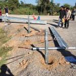 Guard rail installation at Sisophon to Samrong NR56 Cambodia