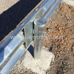 Installation steel guard rail at Cambodia Northwest Provincial Road Improvement Project NR56