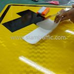 Right turn first warning street sign export to Yangon Myanmar