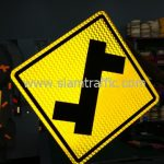 Left turn first warning road sign export to Yangon Myanmar