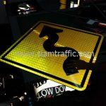 Winding road warning road sign export to Yangon Myanmar