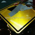 Sharp left turn general warning sign export to Yangon Myanmar
