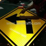 Sharp left turn general warning street sign import from Bangkok Thailand
