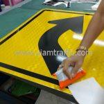 Right bend warning sign export to Yangon Myanmar