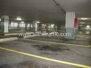 งานตีเส้นช่องจอดรถอาคารจอดรถธนาคารกสิกรไทยสำนักงานใหญ่ด้วยสีเทอร์โมพลาสติก
