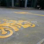 รับเหมาตีเส้นจราจรช่องจักรยานยนต์ อาคารกรุงเทพประกันภัย ถนนสาทร