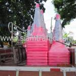 กรวยจราจรสีชมพูขนาดสูง 1 เมตรแพ็คมัดละ 10 ใบทั้งหมด 125 ใบ