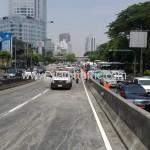 ตีเส้นจราจรสะพานไทย เบลเยี่ยม สีตีเส้นจราจรชนิดสีเทอร์โมพลาสติก ถนนพระราม 4
