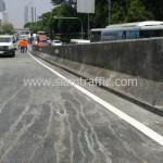 ตีเส้นสะพานไทย เบลเยี่ยม ตีเส้นจราจรบนสะพานลาดยาง ถนนพระราม 4