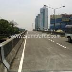 ตีเส้นสะพานไทย เบลเยี่ยม งานตีเส้นจราจรมาตรฐานกรมทางหลวง ถนนพระราม 4
