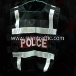 เสื้อกั๊กจราจรสะท้อนแสง POLICE ด้านหลัง