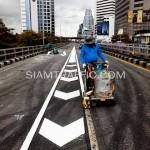 ตีเส้นโครงการปรับปรุงสะพานข้ามแยก ถนนพระรามที่ 4-สีม (ไทย-ญี่ปุ่น)