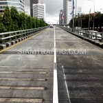 ตีเส้นจราจรโครงการปรับปรุงสะพานข้ามแยก ถนนพระรามที่ 4-สีม