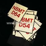 """สติ๊กเกอร์สะท้อนแสงสกรีนข้อความ """"NBMT D01-D80"""" ขนาด 10 x 10 เซนติเมตร"""
