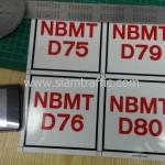 """สติ๊กเกอร์ """"NBMT D01-D80"""" 10 x 10 เซนติเมตร"""
