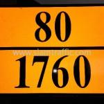 """ป้ายอักษร """"80/1760"""" สะท้อนแสง"""