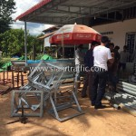 Guard rail installation in Cambodia