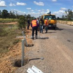 Guard rail installation in Cambodia Sisophon km.29+000 to Samrong