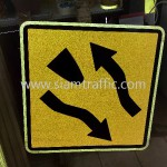 Cambodia Traffic Sign W1-45 and W1-46 Sisophon km.29+000 to Samrong