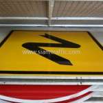 Cambodia Warning Sign Double Bend to Left and to Right W1-05