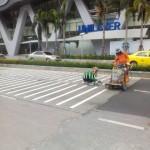 เส้นจราจรขาว Unilever Building ถนนพระราม 9