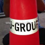 กรวยพลาสติก ภาษาอังกฤษติดสติ๊กเกอร์สกรีนข้อความ U-GROUP