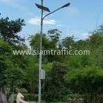 อุปกรณ์โคมไฟถนนพลังงานแสงอาทิตย์ วัดสุทธาวาส วิปัสสนา อำเภอลาดบัวหลวง