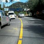 การตีเส้นถนน รอบเกาะสมุย ปริมาณงาน 10,250 ตารางเมตร