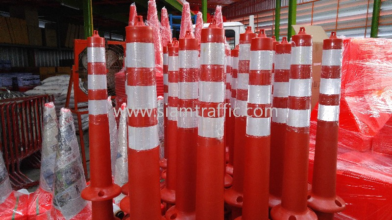 Traffic pole 80 cm. attached with 3 reflective stickers engineer grade.