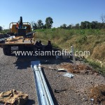 Steel guard rail installation at Sisophon to Samrong NR56 Cambodia