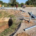 Guardrail installation at Sisophon to Samrong NR56 Cambodia