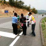 การสาธิตวิธีการตีเส้นถนน ประเทศพม่า လက်တွေ့လမ်းမျဥ်းဆွဲပြခြင်း မြန်မာနိုင်ငံ