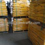 สีตีเส้นจราจรสีเหลือง ส่งออกประเทศพม่า จำนวน 1,500 ถุง