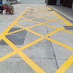 ตีเส้นจราจรตารางสีเหลือง ที่จุฬาพัฒน์ 14 (ซอยจุฬาฯ 12) จุฬาลงกรณ์มหาวิทยาลัย