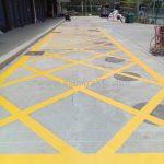 ตีเส้นตารางสีเหลือง ที่จุฬาพัฒน์ 14 (ซอยจุฬาฯ 12)