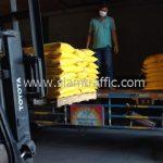 สีตีเส้นจราจร ชนิดสีเทอร์โมพลาสติกสีเหลือง ส่งไปที่พนมเปญ ประเทศกัมพูชา