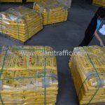 สีเทอร์โมพลาสติกสีเหลือง จำนวนทั้งหมด 2,700 ถุง ส่งไปที่เมืองเมียวดี ประเทศพม่า