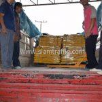สีตีเส้นจราจร สีเหลือง จำนวน 2,700 ถุง ส่งไปที่เมืองเมียวดี ประเทศพม่า