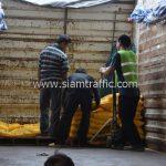 สีตีเส้นจราจรสีเหลือง จำนวน 2,700 ถุง มอก.542-2549 ส่งไปที่เมืองเมียวดี ประเทศพม่า