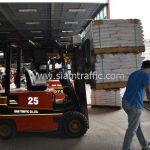 สีตีเส้นจราจรสีขาว จำนวน 1,000 ถุง ส่งไปที่เมืองเมียวดี ประเทศพม่า