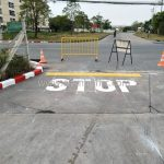 """ตีเส้น ข้อความ """"STOP"""" บริษัท โตโยต้า มอเตอร์ ประเทศไทย จํากัด โรงงานบางปะกง"""