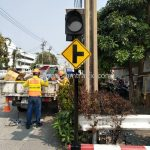 สัญญาณไฟกระพริบ พร้อมป้ายเตือนทางแยก บริษัท โตโยต้า มอเตอร์ ประเทศไทย จํากัด โรงงานบางพลี