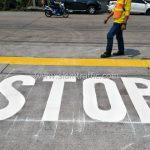 """ตีเส้น ข้อความ """"STOP"""" บริษัท โตโยต้า มอเตอร์ ประเทศไทย จํากัด โรงงานบางพลี"""
