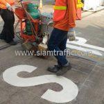 """ตีเส้น """"STOP"""" บริษัท โตโยต้า มอเตอร์ ประเทศไทย จํากัด โรงงานแบริ่ง"""